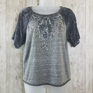Miss Me Embellished Sequined Heather Gray Tee